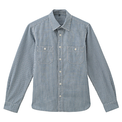 オーガニックコットンインディゴダブルポケットシャツ 紳士XL・スモーキーブルー×柄