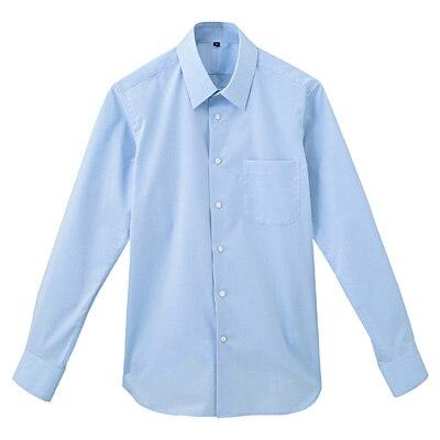 形態安定ブロードストレッチレギュラーカラーシャツ 紳士S・サックスブルー