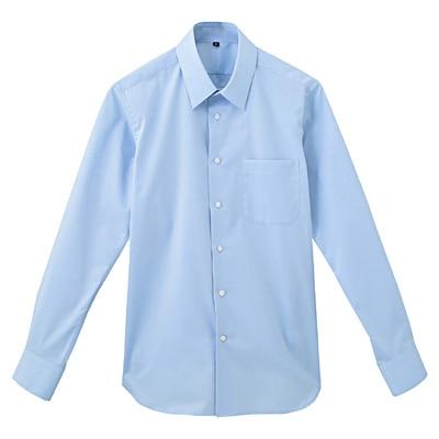形態安定ブロードストレッチレギュラーカラーシャツ 紳士M・サックスブルー