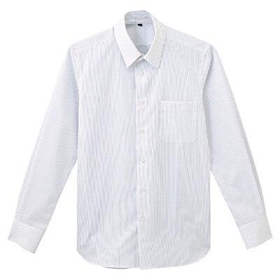 形態安定ブロードストレッチストライプレギュラーカラーシャツ 紳士S・白