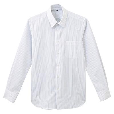 形態安定ブロードストレッチストライプレギュラーカラーシャツ 紳士M・白