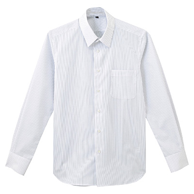 形態安定ブロードストレッチストライプレギュラーカラーシャツ 紳士L・白