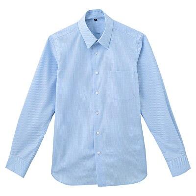 形態安定ブロードストレッチストライプレギュラーカラーシャツ 紳士M・サックスブルー