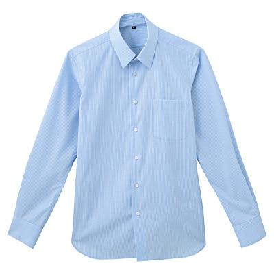 形態安定ブロードストレッチストライプレギュラーカラーシャツ 紳士L・サックスブルー