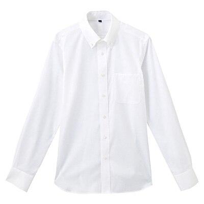 形態安定ピンオックスストレッチボタンダウンシャツ 紳士S・白