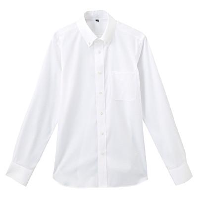 形態安定ピンオックスストレッチボタンダウンシャツ 紳士L・白