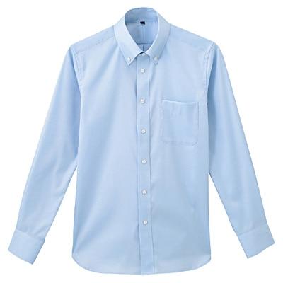 形態安定ピンオックスストレッチボタンダウンシャツ 紳士XL・サックスブルー