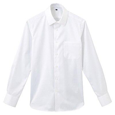 形態安定ツイルストレッチセミワイドカラーシャツ 紳士M・白