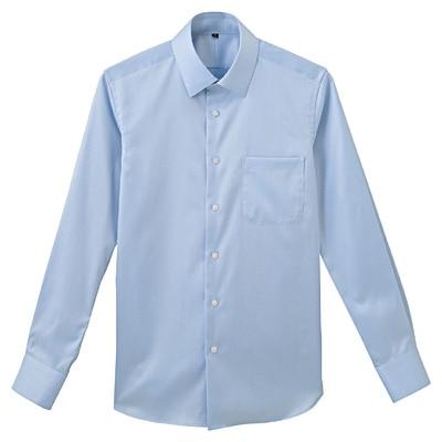 形態安定ツイルストレッチセミワイドカラーシャツ 紳士S・サックスブルー