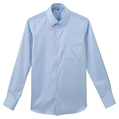 形態安定ツイルストレッチセミワイドカラーシャツ 紳士M・サックスブルー