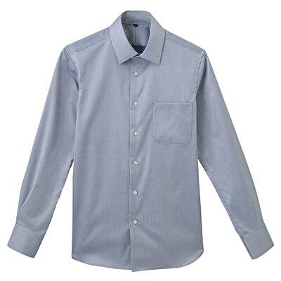 形態安定ツイルストレッチセミワイドカラーシャツ 紳士S・ネイビー