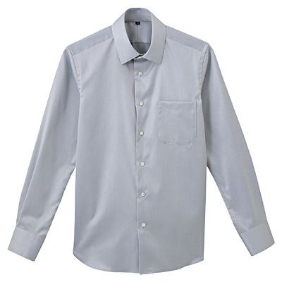 形態安定ツイルストレッチセミワイドカラーシャツ 紳士S・グレー