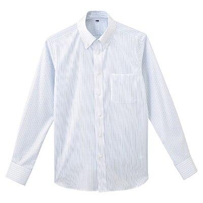 形態安定ピンオックスストレッチストライプボタンダウンシャツ 紳士M・ブルー