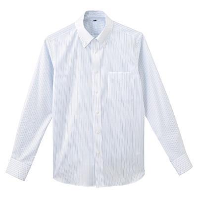 形態安定ピンオックスストレッチストライプボタンダウンシャツ 紳士L・ブルー