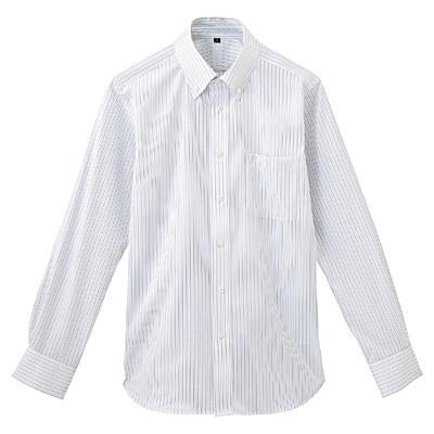 形態安定ピンオックスストレッチストライプボタンダウンシャツ 紳士L・グレー