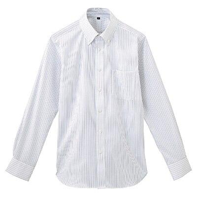 形態安定ピンオックスストレッチストライプボタンダウンシャツ 紳士XL・グレー