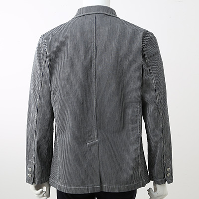 Stretch Organic Cotton Hickory Stripe Jacket 38003779: Navy