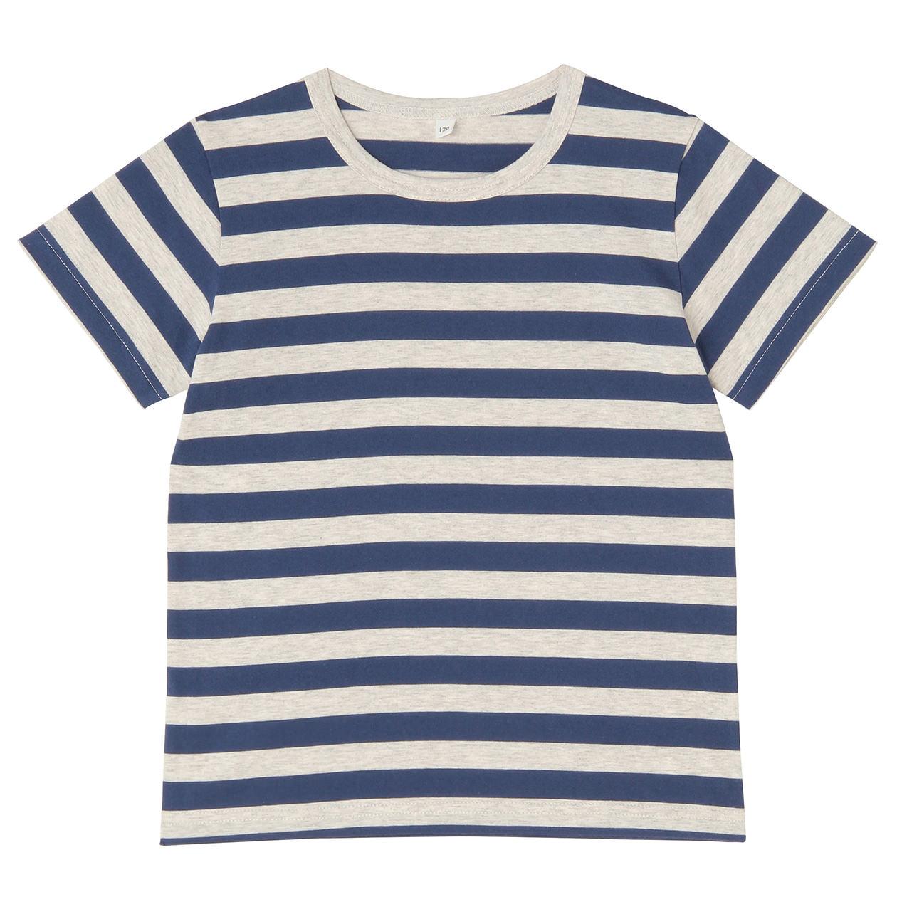 striped pattern short sleeve t shirts kids110 blue muji. Black Bedroom Furniture Sets. Home Design Ideas