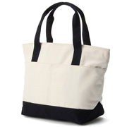 Water Repellent Organic Cotton Tote S Ecru*navy