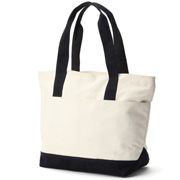 Water Repellent Organic Cotton Tote Ecru*navy