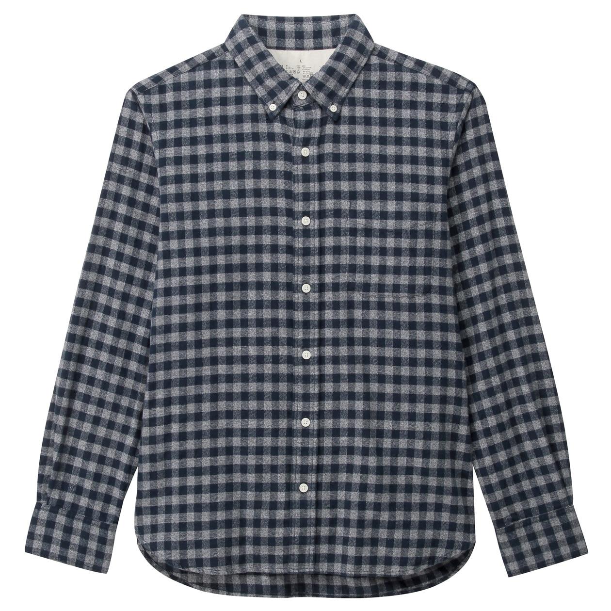 12、オーガニックコットンフランネルチェックボタンダウンシャツ