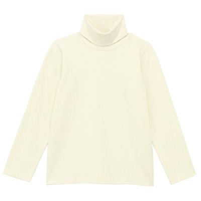 【キッズ】毎日のこども服オーガニックコットン混タートルネック長袖Tシャツ(キッズ) アイボリー