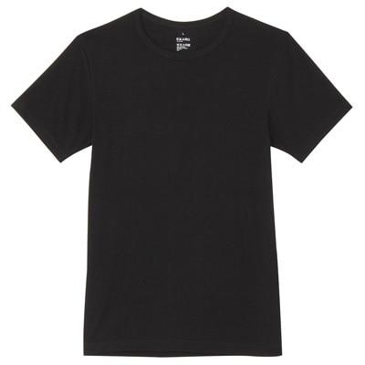 男棉混吸濕發熱保暖圓領短袖衫黑色M