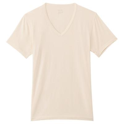 男棉混吸濕發熱保暖V領短袖衫粉米M