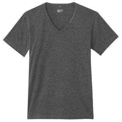 男棉混吸濕發熱保暖V領短袖衫墨灰M