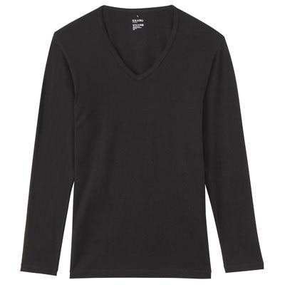 男棉混吸濕發熱保暖V領長袖衫黑色M