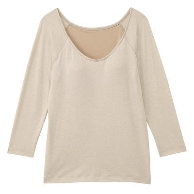 女棉混吸濕發熱保暖有杯八分袖衫粉米M