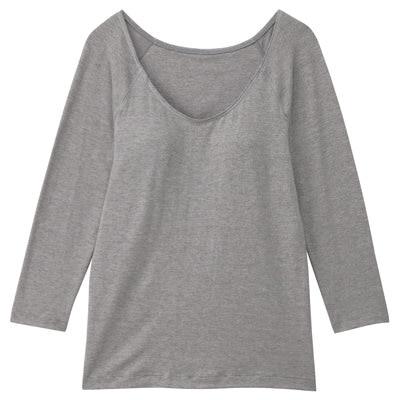 女棉混吸濕發熱保暖有杯八分袖衫灰白M
