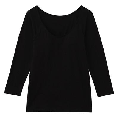 女棉混吸濕發熱保暖有杯八分袖衫黑色M