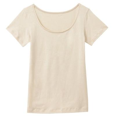 女棉混吸濕發熱保暖短袖衫粉米M