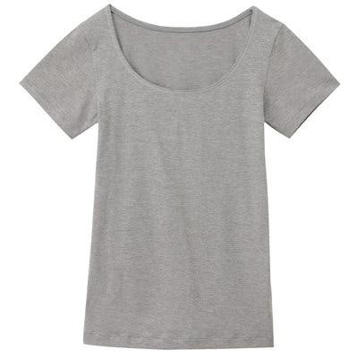 女棉混吸濕發熱保暖短袖衫灰白M