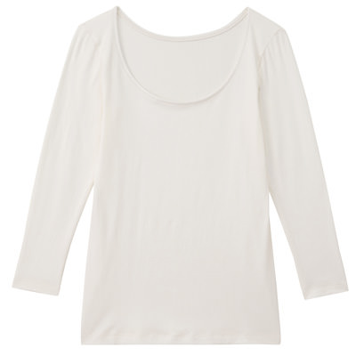 女棉混吸濕發熱保暖八分袖衫柔白M