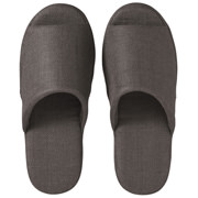 *linen Twill Cushion Opentoe Slipper M D.grey S16