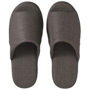 *linen Twill Cushion Opentoe Slipper L D.grey S16