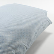 Organic Washed Cotton Duvet Cover Q Blue Large Check S16