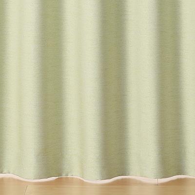 ポリエステルピンボーダー(防炎・遮光性)プリーツカーテン/グリーン