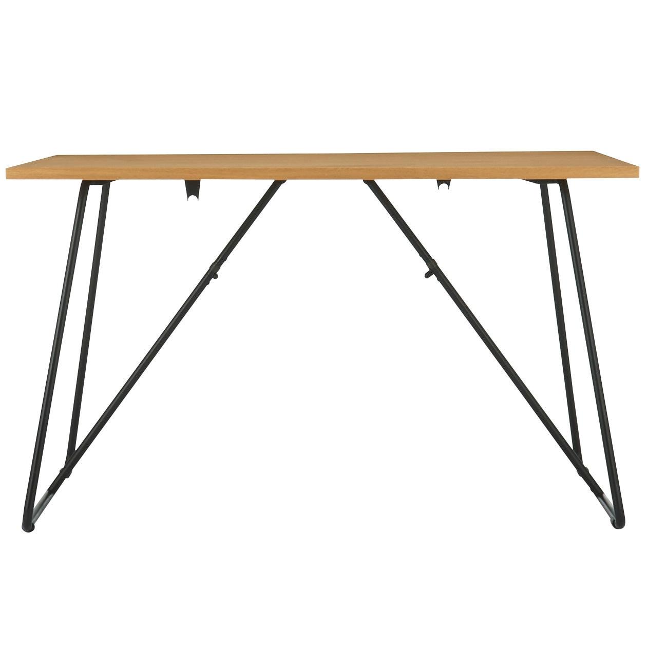 折りたたみテーブル・幅120cm・オーク材 幅120×奥行70×高さ72cm折りたたみテーブル、スタッキングスツール脚部を開く際は脚固定リングの位置にご注意ください。