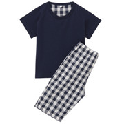 Cool Touch S/s Pajamas (3/4 Length) Navy 80