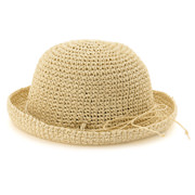 Hand Woven Foldable Hat Beige 52cm