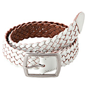 Tanned Leather Braided Belt White
