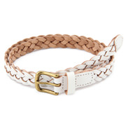 Tanned Leather Slim Mesh Belt White