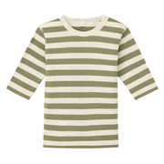 Every Day Kids Wear Border 3/4 Sleeve T-shirt Khaki 80