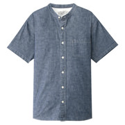 Ogc Chambray Stand Collar S/s Sht Nvy S