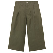 French Linen Easy Wide Cropped Pnts Khaki S