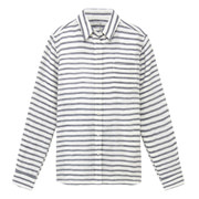 French Linen Washed L/s Border Sht Nvy S