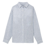 French Linen Washed Stripe Wide Sht Blue Xs - S